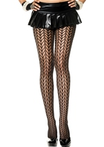 Mesh Feather Design Spandex Pantyhose Black