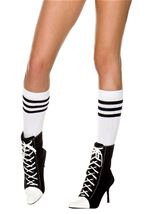 Knee Highs with Striped Top White Black