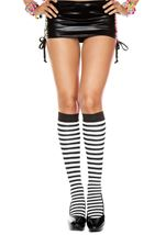 Striped Knee High Black White