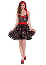 Retro 50s Housewife Cherries Print Woman Costume