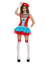 Adult Red Playful Plumber Woman Costume