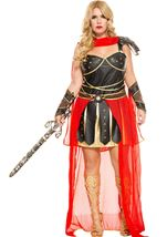 Dark Greek Warrior Woman Plus Costume