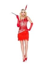 Adult Fearless Flapper Red Woman Costume