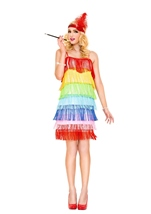 Rainbow Fringe Flapper Woman Costume