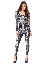 Skeleton Print Catsuit Black