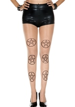Pentagram Spandex Pantyhose Black and Beige