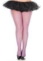 Plus Size Diamond Net Pantyhose Purple