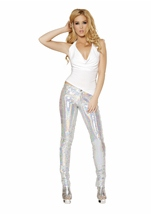 Sequin Button Front Silver Pants