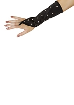 Rhinestone Gloves Black