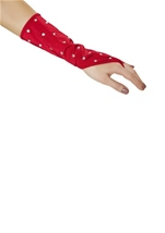 Rhinestone Gloves Red