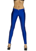 Navy Blue Disco 80s Women Pants