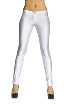 Adult White Disco 80s Women Pants