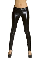 Black Metallic Button Front Pants with Pocket Detail