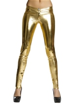 Gold Metallic Button Front Pants with Pocket Detail