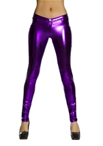 Adult Purple Metallic Button Front Pants with Pocket Detail
