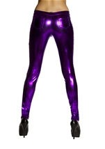 Purple Metallic Button Front Pants with Pocket Detail