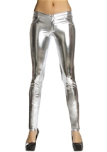 Silver Metallic Button Front Pants with Pocket Detail
