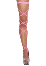 Leg Strape With Attached Thigh Garter Hot Pink