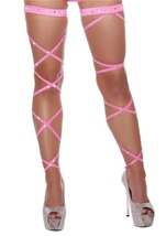Solid Leg Strap with Attached Garter & Rhinestone Details Hot Pink