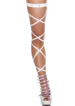 Solid Leg Strap with Attached Garter & Rhinestone Details White