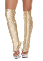Leatherette Leg Warmers with Rhinestone Details Gold