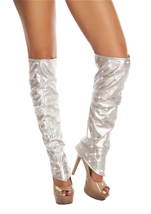 Leatherette Leg Warmers with Rhinestone Details Silver