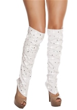 Leatherette Leg Warmers with Rhinestone Details White