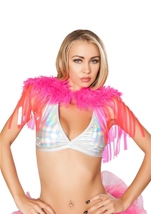 Fringed Shrug with Fur Detail Hot Pink