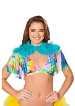 Fringed Shrug with Fur Detail Turquoise Tie Dye