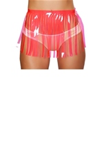 Fringed Vinyl Skirt Hot Pink