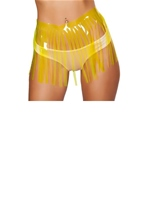 Fringed Vinyl Skirt Yellow