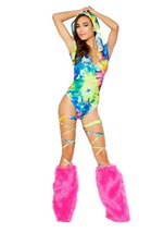 Printed Hooded Romper Tye Dye
