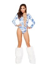 Printed Lace Up Long Sleeved Romper Clouds