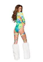 Adult Printed Lace Up Long Sleeved Romper Tie Dye