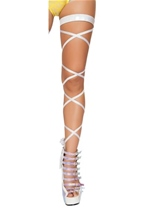 Shimmer Leg Strap with Attached Garter White