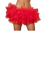 Red Fluffy Mini Ruffled Women Petticoat
