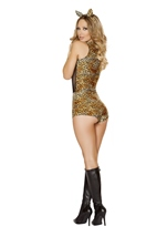 Adult Jungle Cat Woman Romper Costume