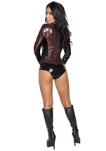 Adult Spider Print Webbed Warrior Woman Costume