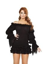 Ruffled Pirate Dress with Sleeves  Multi Layered Skirt Black Woman Costume