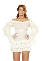Ruffled Pirate Dress with Sleeves Multi Layered Skirt White Woman Costume