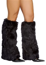 Deluxe Black Fur Leg Warmers