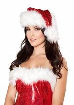 Fur Trimmed Sequin Santa Hat
