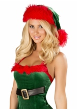 Green And Red Fur Trimmed Women Christmas Hat