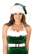 Green And White Fur Women Elf Hat