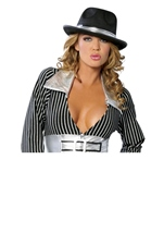 Women Gangster Hat With Silver Trim