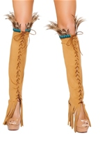 Lace up Suede Leg Warmers Tan