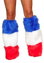 White Red And Blue 3 Tone Leg Warmers