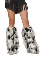 Fur Black White Deluxe Leg Warmers