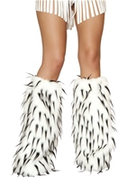 Black And White Deluxe Fur Leg Warmers