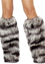 Black And Grey Deluxe Native Fur Leg Warmers